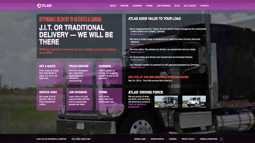 Atlas Trucking Website design