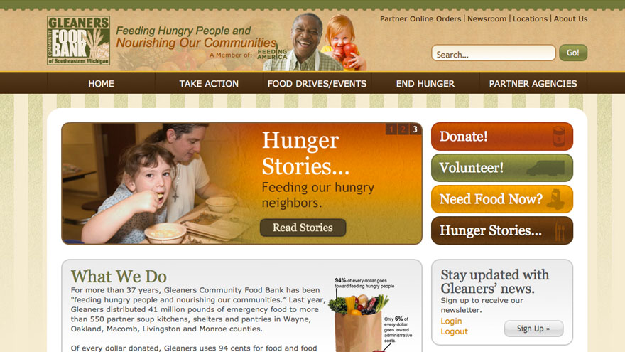 Non profit website design, cause marketing