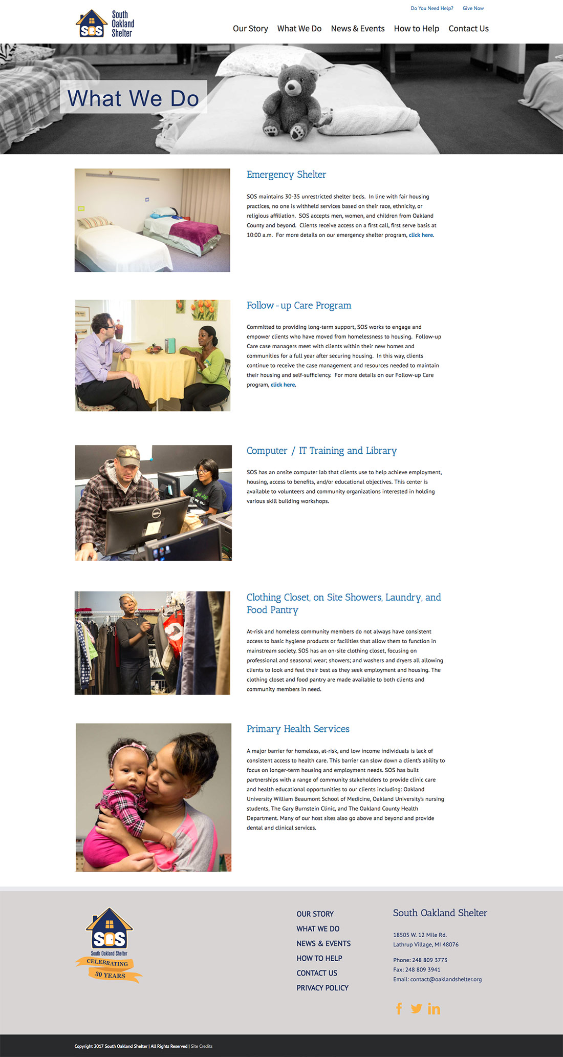 South Oakland Shelter Website - What We Do Page