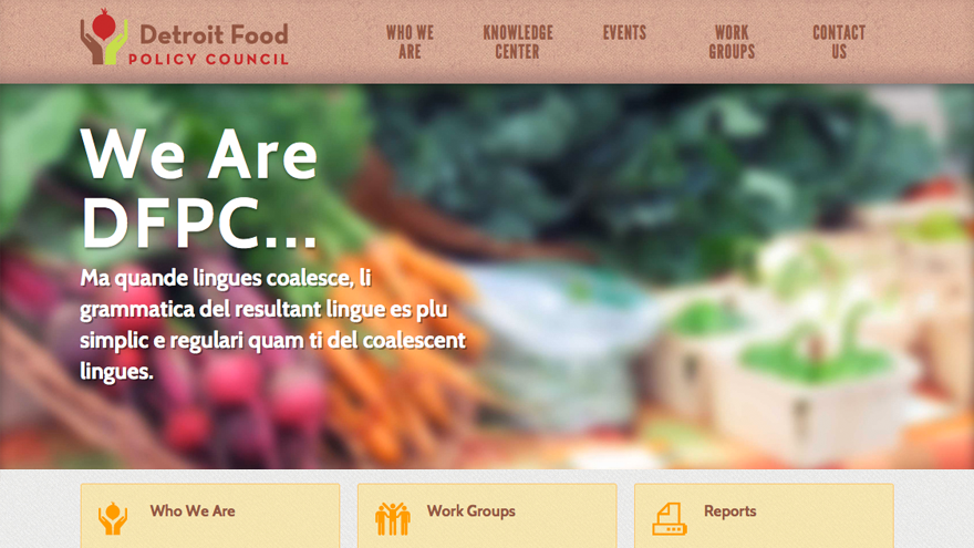 Detroit Food Policy Website Design and New Logo
